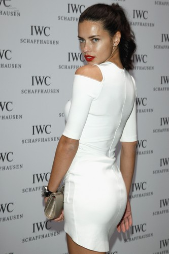 Adriana Lima karatasi la kupamba ukuta possibly with bare legs, hosiery, and tights titled Adriana Lima attends the IWC Schaffhausen juu Gun Gala Event in Geneva, January 17 2012