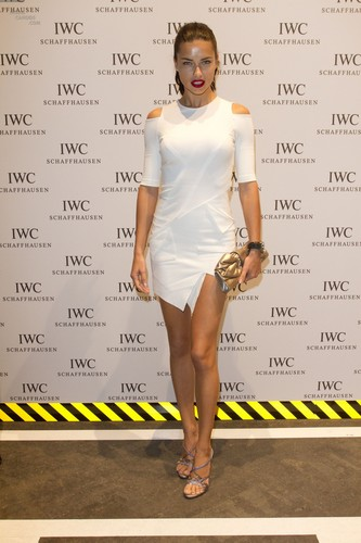Adriana Lima attends the IWC Schaffhausen haut, retour au début Gun Gala Event in Geneva, January 17 2012