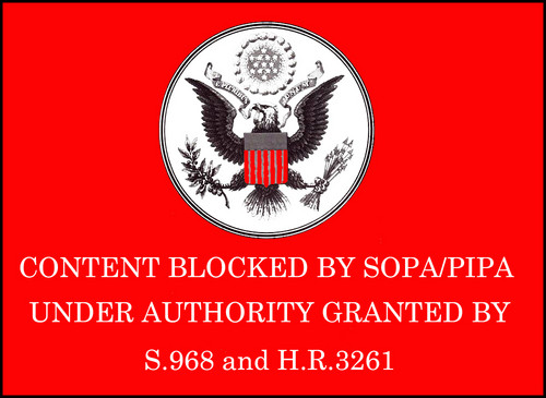 Stop SOPA and PIPA wallpaper probably containing a sign, a newspaper, and anime called Content Blocked