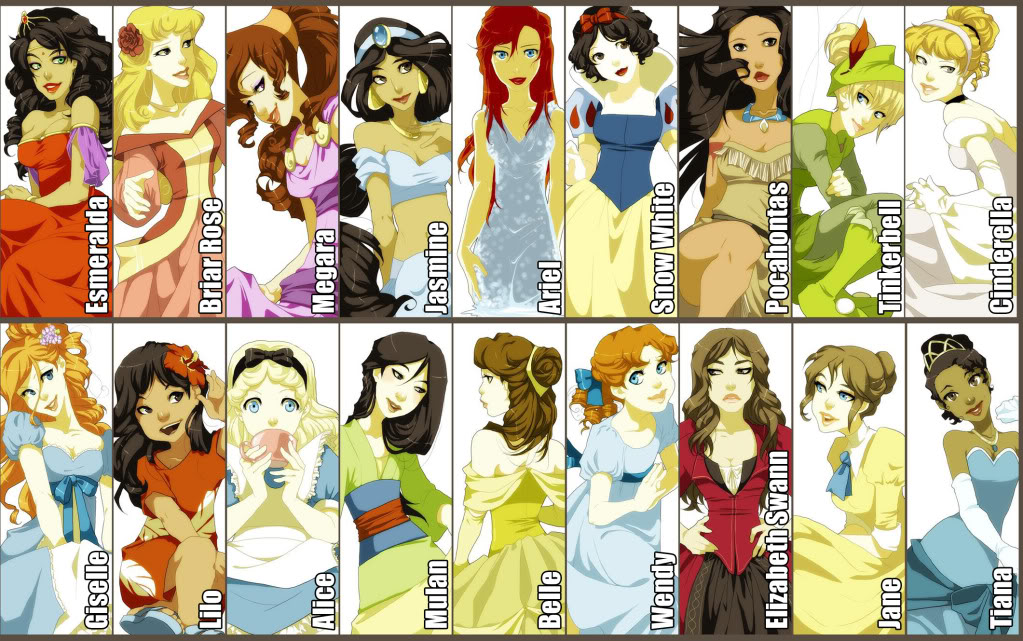 Childhood Animated Movie Heroines Disney Princess Art