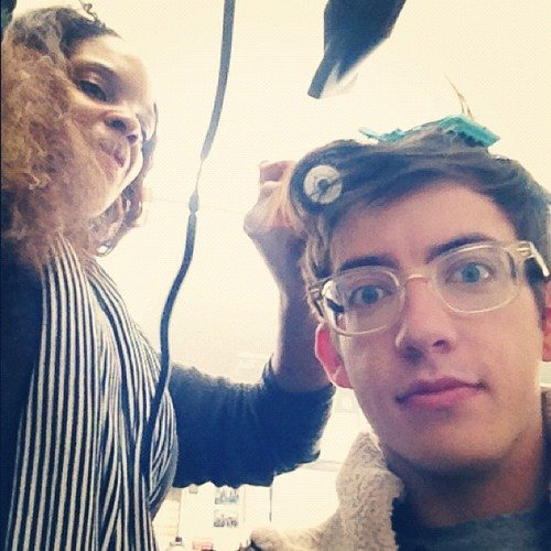 Kevin getting his hair done