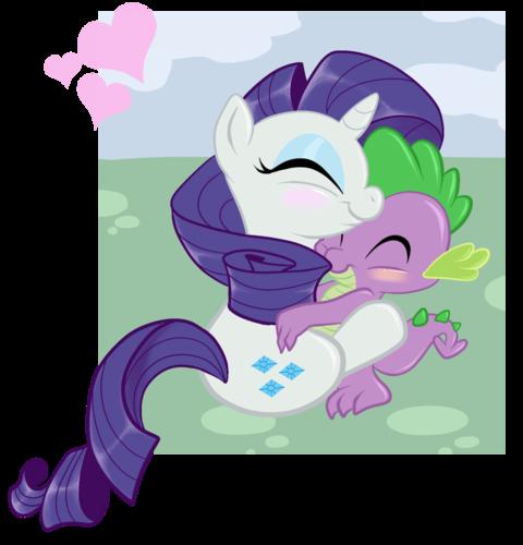 Rarity and Spike snuggles