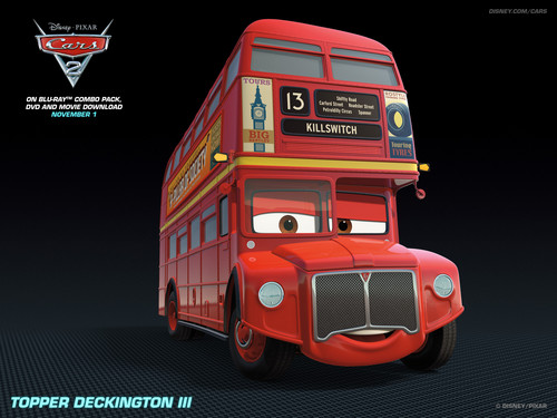 Disney Pixar Cars 2 wallpaper possibly containing a bus entitled Topper Deckington