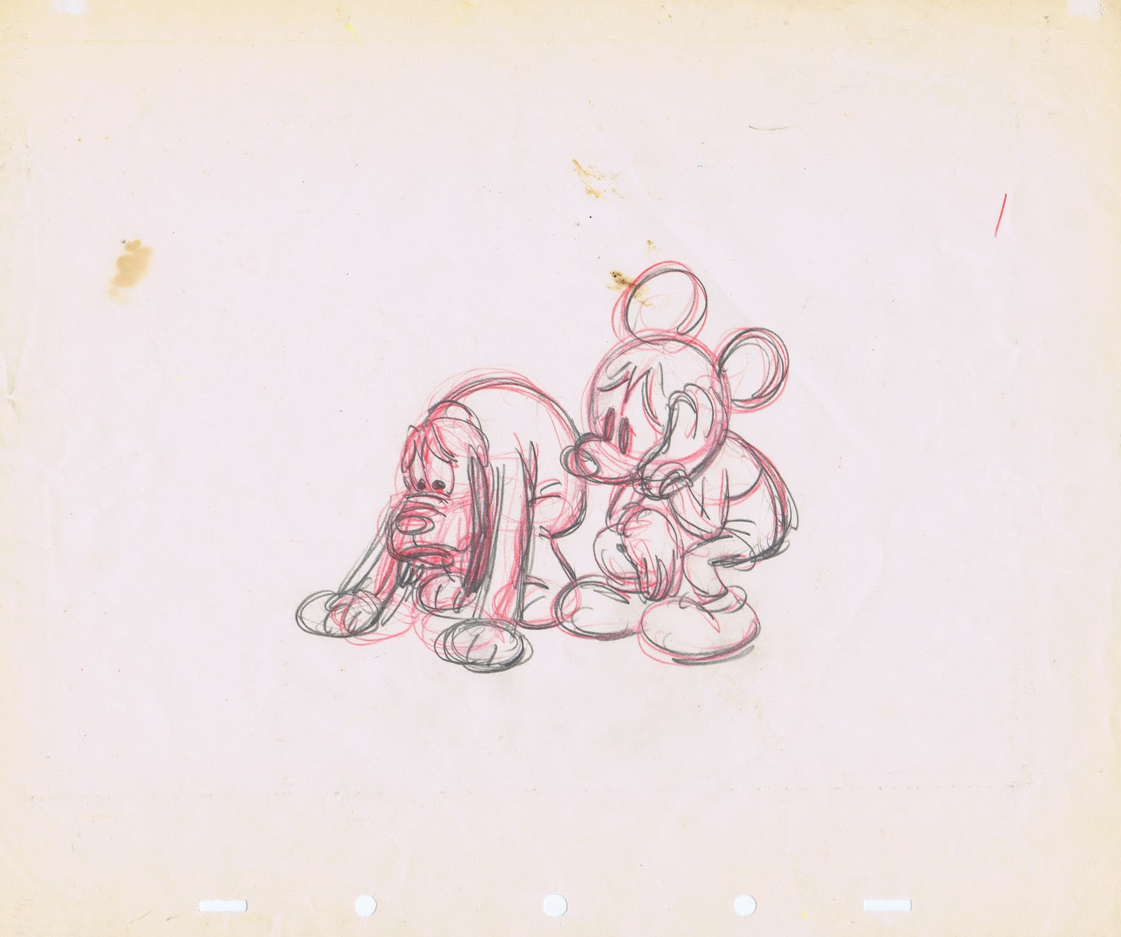 Walt Disney Sketches - Pluto & Mickey Mouse - Walt Disney ...