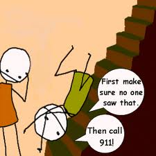 What to do when u fall down stairs. xD