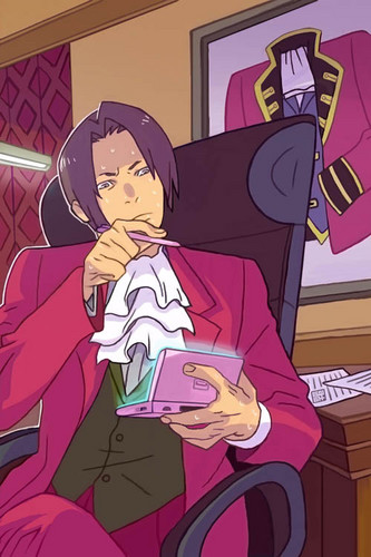 Miles Edgeworth wallpaper with anime entitled edgeworh playing DS!?!?