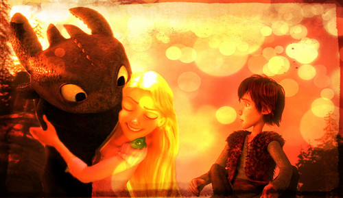 rapunzel, hiccup and toothless