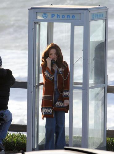 "Amanda Seyfried Using A Pay Phone On The Set Of ""Lovelace"""