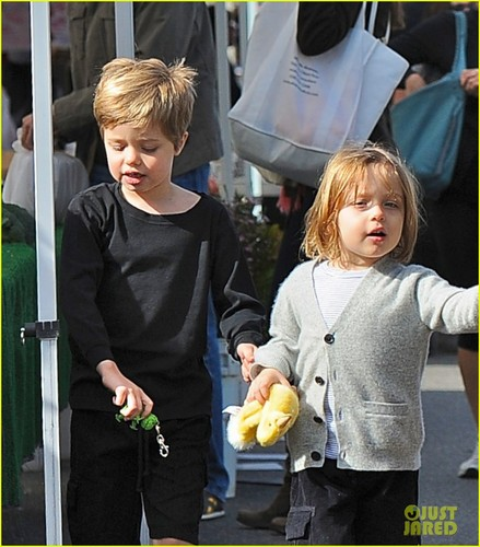 Angelina Jolie: Farmers' Market With the Kids