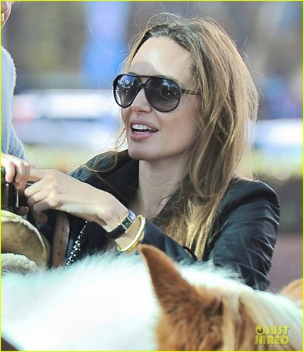Angelina Jolie wallpaper with sunglasses entitled Angelina Jolie: Farmers' Market With the Kids!
