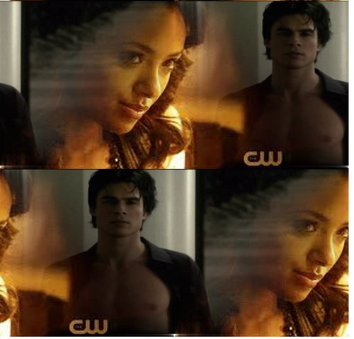 Damon & Bonnie wallpaper containing a fire and anime entitled BAMON FOREVER