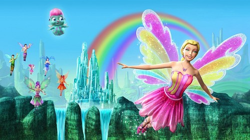 Filem Barbie kertas dinding containing a mata air, air pancut entitled Barbie Fairytopia: Magic of the pelangi, rainbow