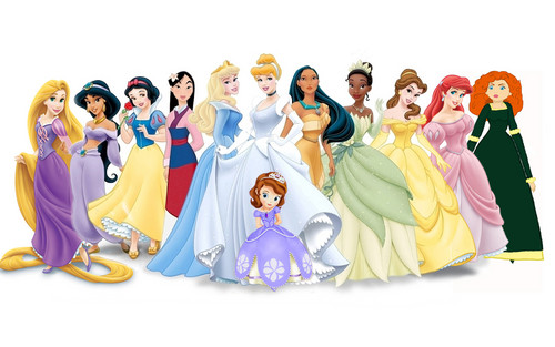 Disney Leading Ladies karatasi la kupamba ukuta titled Disney princess lineup