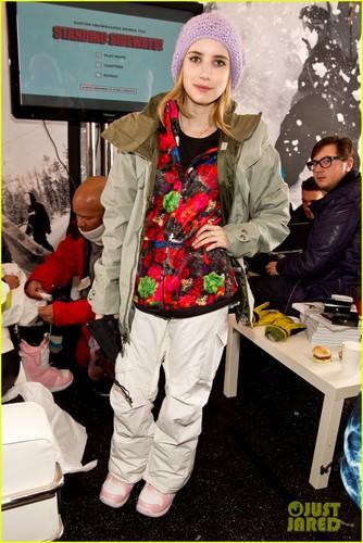 Emma Roberts Snowboarding at the burton Lounge at Park City Mountain Resort