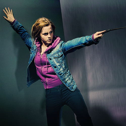 Hermione Granger wallpaper probably containing bare legs, tights, and long trousers titled Harry Potter and the Deathly Hallows Part II Photoshoot