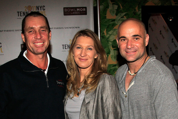 Ivan Lendl and Andre Agassi with wife