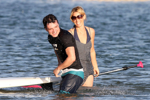 Josh Hutcherson Paddleboards in Hawaii