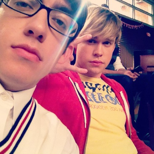 Kevin and Chord on the set of Glee