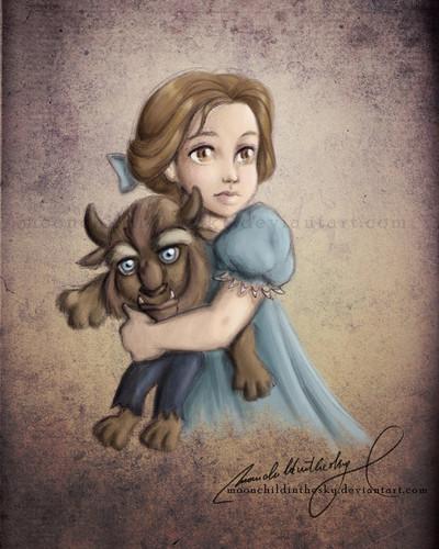 little disney princesses پیپر وال titled Little Belle