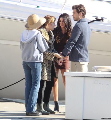 Nick and Shenae on set