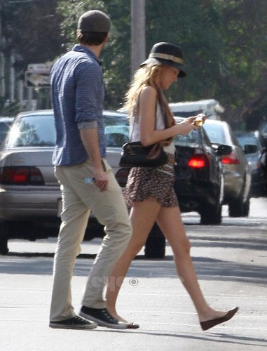 Ryan Reynold and his girlfriend Blake Lively land in New Orleans, LA on January 20, 2012.
