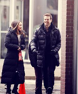 Shane  & Maggie on set