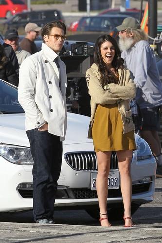 Shenae Grimes and Nick Zano on set of 90210
