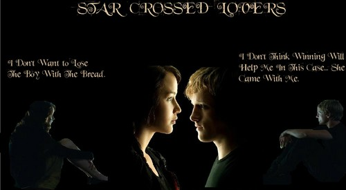 The Hunger Games wallpaper probably with a sign, a business suit, and anime entitled Star Crossed Lovers