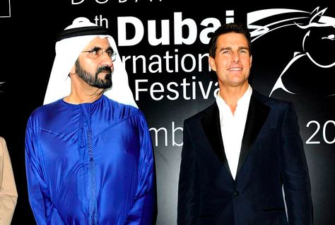 Tom Cruise wallpaper probably with a business suit titled Tom Cruise with Sheikh Mohammed bin Rashid Al Maktoum