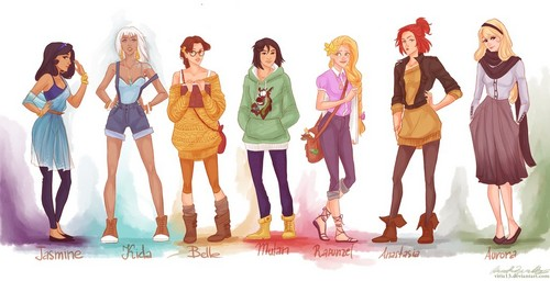 fashion ディズニー princesses(with kida and anastasia)