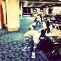 justin bieber, airport sleep , instagram