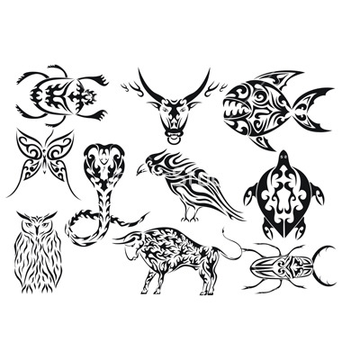 Tribal tattoos achtergrond entitled Animals