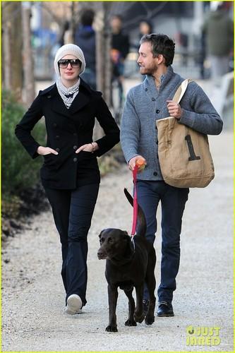 Anne Hathaway & Adam Shulman Walk with Esmeralda