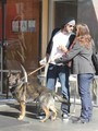 Ben and Jen PDA while take their dog for a walk