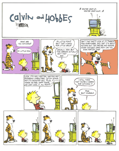 Calvin and Hobbes like My Little Pony!