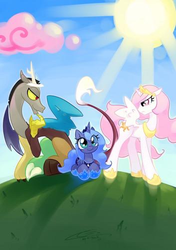 Discord, Luna, and Celestia