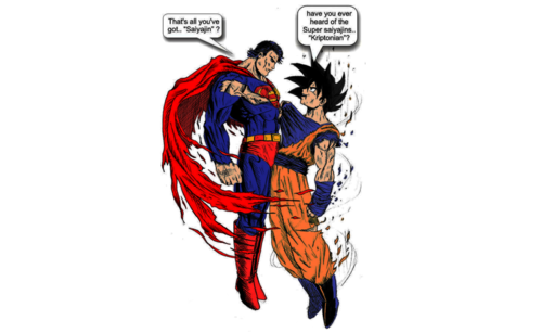 dragon ball z wallpaper titled goku vs. superman