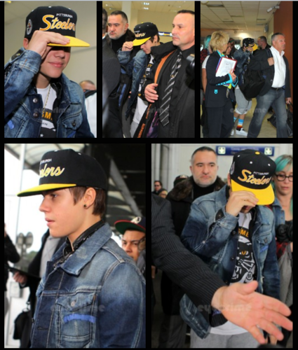 Justin Bieber arrives at Nice Airport in France