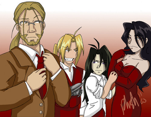 full metal alchemist wallpaper with anime titled Lust, Wrath, Ed, and Father