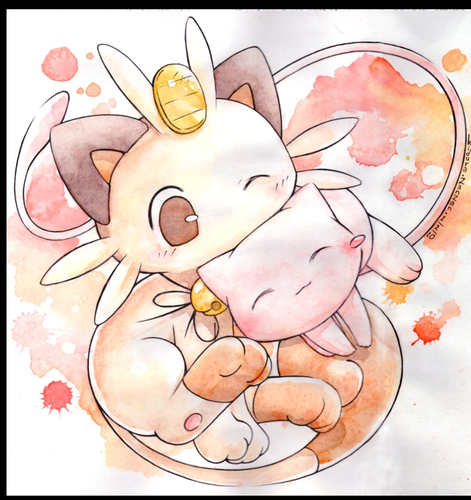 Meowth and Mew