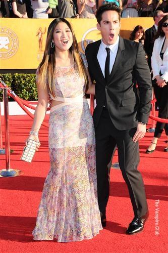 Michael Trevino & Jenna Ushkowitz at the SAG Awards red carpet