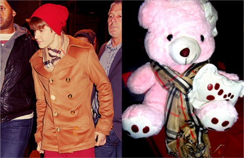 Justin Bieber wallpaper titled My teddy bear and Justin have the same scarf :)