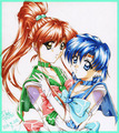 Sailor Mercury and Jupiter - anime fan art