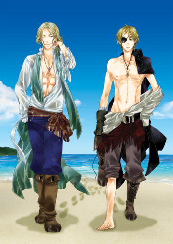 Hetalia: ~FrUk~ karatasi la kupamba ukuta possibly containing a hip boot, an outerwear, and a playsuit entitled Sexy Pirate's