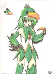 green bird anime