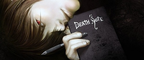death note wallpaper probably with a sign and a newspaper entitled light