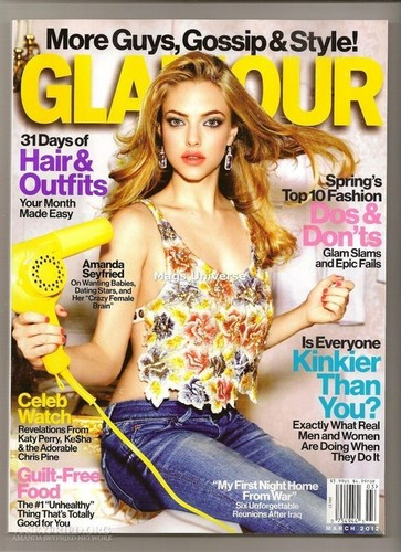 Amanda covers 'Glamour' magazine; March 2012.