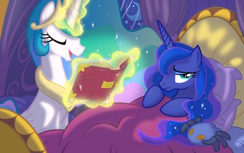 Celestia is reading her little sister a bedtime story. :3