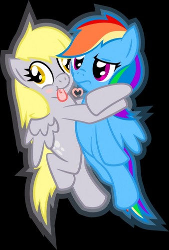 Derpy hugging pelangi, rainbow Dash XD