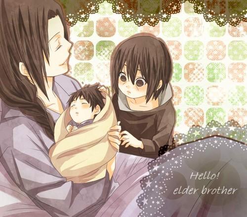 Mikoto - Baby Sasuke - Tiny Itachi